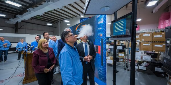 10-9-19----At A A Technology, Ronkonkoma where parts for the Halo Smart Sensor are built, Islip Town Supervisor Angie Carpenter held a press conference with Congressman Peter King about the harm of vaping.